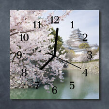 Glass Wall Clock Kitchen Clocks 30x30 cm silent Cherry Trees Pink