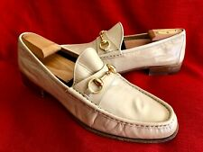 Classic Gucci GG Gold Horsebit Tan / Beige Leather Loafer Shoes Size  8 G/US 9