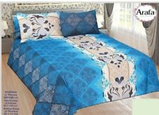 Egyptian Bed Sheet - Colorful Printed Cover Set - Baby Blue - 5 Pcs