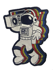 Rocking Astronaut Boom Box Spaceman Iron on Embroidered Patch On Jacket Shirt