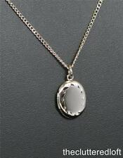 Sterling Silver Oval LOCKET for Monogramming on Adjustable Chain Sarah Coventry