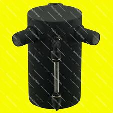 """0.5L Baffled Black Aluminium Oil Catch Can With 19mm 3/4"""" Inlets + Drain Plug"""
