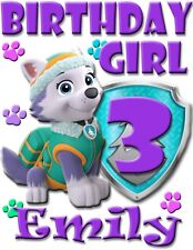PERSONALIZED CUSTOM EVEREST PAW PATROL BIRTHDAY SHIRT ADD NAME & AGE FOR FAMILY