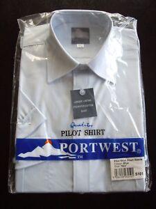"""Portwest Blue Short Slve Pilot Shirt Epaulette Security Work Wear Uniform 14.5"""""""