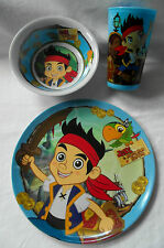 Disney Jake& the Neverland Pirates 3 Piece Breakfast Set- Plate Bowl Cup/Tumbler
