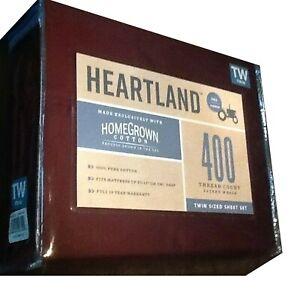 Burgundy TWIN Sheet Set Heartland 400 TC 100% Cotton Sateen NEW