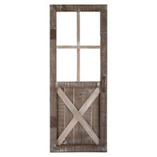 Wall Decor Wood Rustic Door in White-Washed Brown MDF with Rust Colored Metal