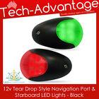12V BOAT YACHT TEAR DROP MARINE BLACK PORT & STARBOARD LED NAVIGATION LIGHTS