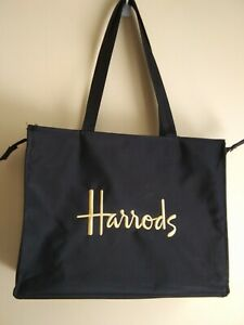 HARRODS Knightsbridge London England BLACK/GOLD Microfiber Tote Shopper Bag EUC!