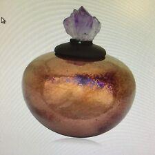 Crystal Dream Jar w/Amethyst, Raku Pottery NEW