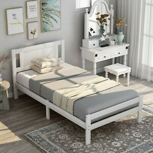 3ft Single Bed White Solid Wooden Bed Frame Solid Wood Bedroom Furniture