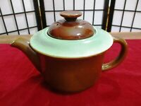 Red Wing Provencial Oomph Teapot Vintage Turquoise and Brown 4 cup