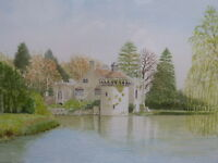 WATERCOLOUR SCOTNEY CASTLE  ARTIST DAVID F KNIGHT  FREE SHIPPING TO ENGLAND