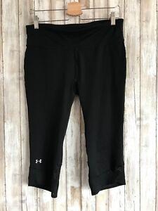 Under Armour Tech Mesh Black Crop Capri Pants All Season Leggings Yoga M