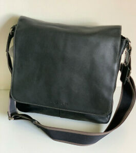 NEW! COACH BLACK HERITAGE WEB LEATHER MAP CROSSBODY SLING MESSENGER BAG $348