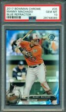 2017 BOWMAN CHROME BLUE REFRACTOR MANNY MACHADO #35 007/150 PSA 10
