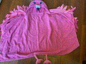girls kids FLAMINGO TOWEL bath beach PINK BIRD terry cloth THICK hooded hood