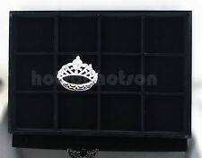 TOP QUALITY 12 GRID BLACE VELVET JEWELLERY DISPLAY CASE BOX TRAY