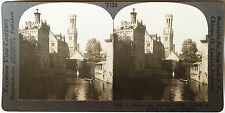 Keystone Stereoview of the Canals of Bruges, BELGIUM from the 1930's T400 Set