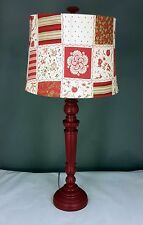 Red Round Spindle Table Lamp with shade