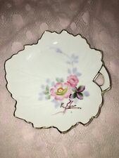 Antique leaf shape floral hand painted Occupied Japan china trinket dish tray GC