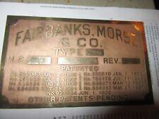 Fairbanks Morse Brass Data Plate Tag Antique Gas Engine Hit Miss original rare