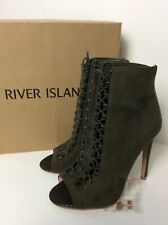 River Island Khaki Lace Up Stiletto Ankle Boots Shoes 5 38 Celeb Fav Faux Suede