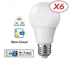 Pack 6 Ampoules LED E27 Grande Vis 12W (eq. 75 watt) Blanc Chaud marque V-TAC