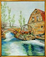 """M.JANE DOYLE SIGNED ORIGINAL ART OIL/CANVAS PAINTING """"THE OLD MILL"""" FRAMED"""