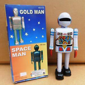 Robot mécanique en tôle. DIVER  22 cm - Bleu Ciel. MS422. Rare