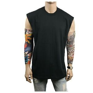 Men HEAVY WEIGHT Crew neck T-Shirt Sleeveless Muscle Tank Fitness Gym Big & Tall