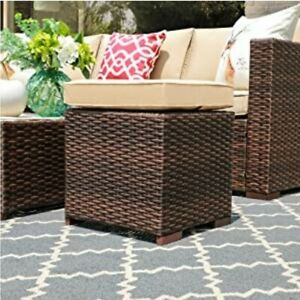 2-Piece Assembled Outdoor Patio Ottoman Outdoor All-Weather (Brown)
