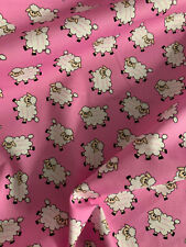 Pink Sheep Animal Childrens Printed 100% Cotton Poplin Fabric.