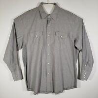 Wrangler Men's Button Up Shirt Pearl Snap Long Sleeve Gray All Cotton 2XL