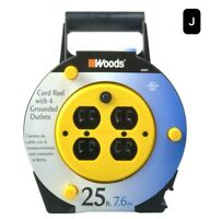 New, Extension Cord Reel w/ 4 Outlets 16/3 Sjtw & 12A Circuit Breaker, 25-F. New