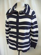 Ladies Jacket Cardigan Viyella size M, white navy stripes, zip, wide collar 0809