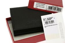 NEW SALVATORE FERRAGAMO BLACK CAVIAR LEATHER LOGO BIFOLD CARD CASE WALLET