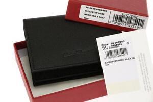 NEW SALVATORE FERRAGAMO BLACK CAVIAR LEATHER LOGO BIFOLD CARD CASE WALLET