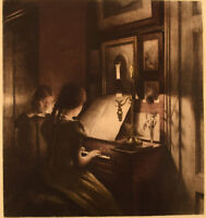 Peter Ilsted: Interior with two girls at the piano. Mezzotint in colours.