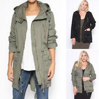TheMogan Women's Plus Size Anorak Military Safari Drawstring Hooded Jacket 1X~3X