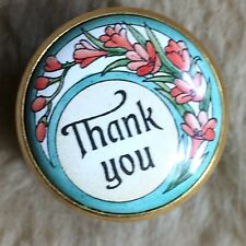 FABULOUS HALCYON DAYS  ENAMELLED THANK YOU WITHIN FLORAL FRAME MINIATURE BOX R6