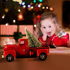 Christmas Red Vintage Metal Truck Truck with Movable Wheel Table Decor Kids Gift