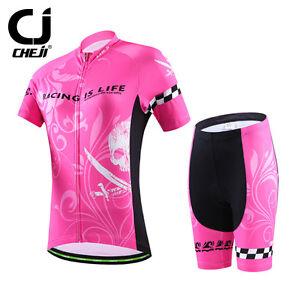CHEJI Pink Skull Cycling Clothes Women's Novelty Cycling Jersey and Shorts Kit