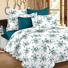 White & Blue Floral 160 TC Cotton Double Bedsheet with 2 Pillow Covers Set