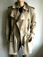 BURBERRY MENS L LARGE 40-42 DOUBLE BREASTED TRENCH COAT RAINCOAT JACKET