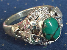 Sterling Silver Traditional Asian Vintage Style Turquoise Ring Size R 1/2 Gift