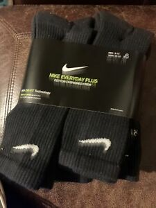 Nike Everyday Plus Cushion Men's Crew Socks, Size Large - Black/White