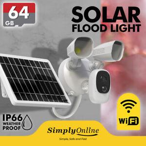Solar Flood Light WiFi CCTV Security Camera + 64GB SD CARD