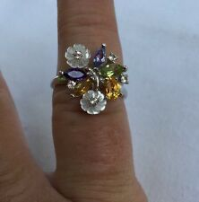 $399 Genuine Mother Of Pearl Amethyst Tanzanite Citrine Peridot Sterling Ring 8