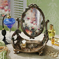 Bronze Finish Art Nouveau Style French Decor Vanity Mirror with Tray Stand new